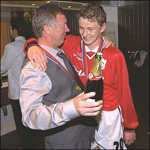 Solkskjaer after winning the Champions League